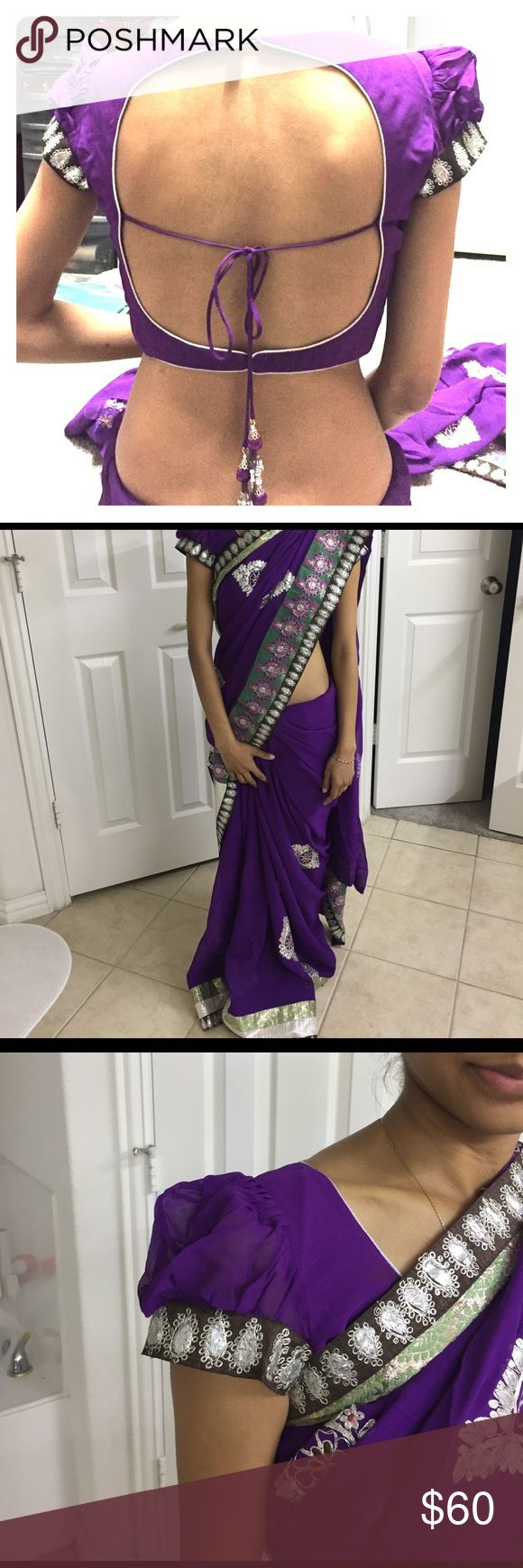 "Purple saree Purple saree with blouse. Only wore once. Blouse chest is 32"". Armhole 14"" wide. Dresses"
