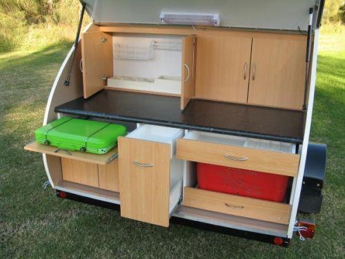 Teardrop camper near new teardrop camper craftsman buil for Teardrop camper kitchen ideas