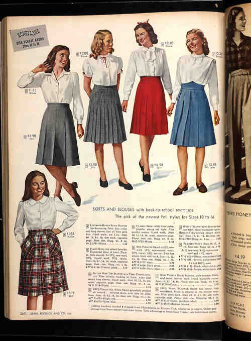 """The classic """"schoolgirl"""" look of pleated skirts and white blouses, which is the basis of so many modern school uniforms, became popular in the aftermath of WWII. This page of stylish looks for the """"High School Crowd"""" is from the Fall-Winter 1946 Sears catalog."""
