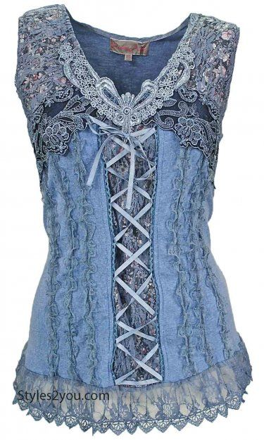 AP Mercer Women's Vintage Corset Top In Blue
