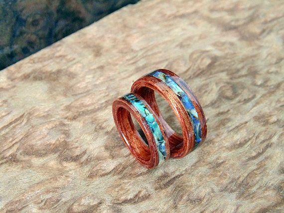 Bubinga Wedding Bands With Abalone Inlay Handcrafted