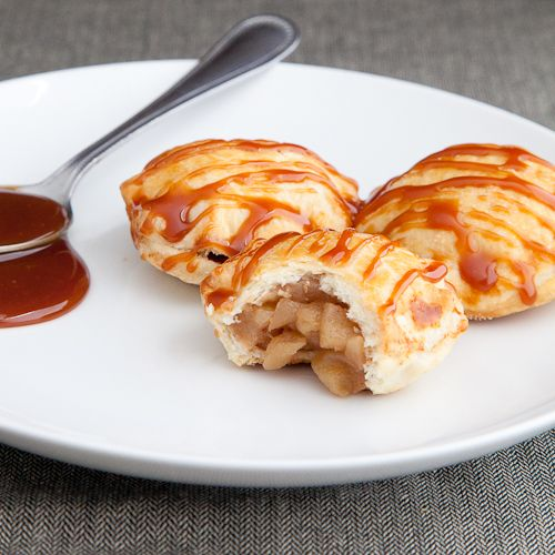 Miniature apple pie puffs with homemade caramel sauce