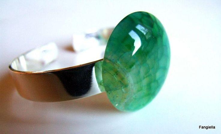 Bracelet agate verte support réglable en laiton plaqué argent : Bracelet par fangiella