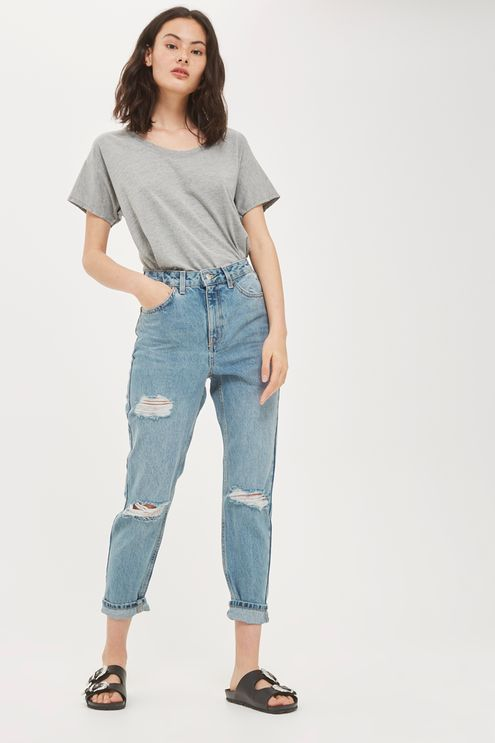 MOTO Mid Blue Cheeky Ripped Mom Jeans