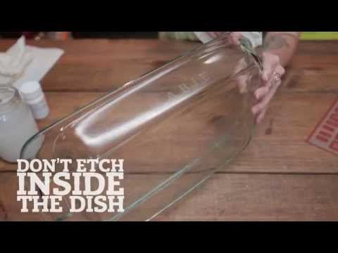 Perfect for Potlucks: Etched Bakeware. Part of the series: #eHowHacks: DIY Design. This bakeware lettering tip from #eHowHacks will forever be etched into your heart. Read more: http://www.ehow.com/video_12341013_perfect-potlucks-etched-bakeware.html
