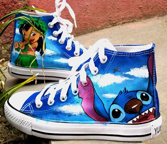 Lilo and Stitch Custom Converse Sneakers Hand Painted, 100% hand painted- 100% New Shoes  About Cconverse Size: (Unisex Adults) Please choose size by checking our size conversion chart carefully.  If you have a different design idea, please contact me and send me the pictures, i will give you an offer accor...