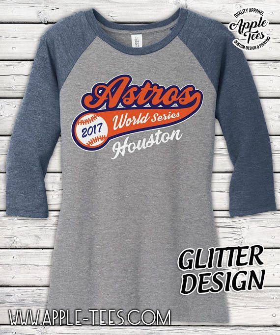 Houston Astros - World Series Glitter Bling 3/4 Sleeve Raglan T-shirt Top -Ladies Glitter No Flake Design! Loads of bling here! This design is made up of 3 colors of high quality glitter HTV!!! SUPER SOFT AND COMFY T-shirt is a high quality District Made Brand. 4.5-ounce, 50/25/25 poly/ring spun combed cotton/rayon Do you have a shop youd like to sell our designs in? Contact us for bulk wholesale pricing on our custom designs. Care Instructions Do not dry clean • Ma...