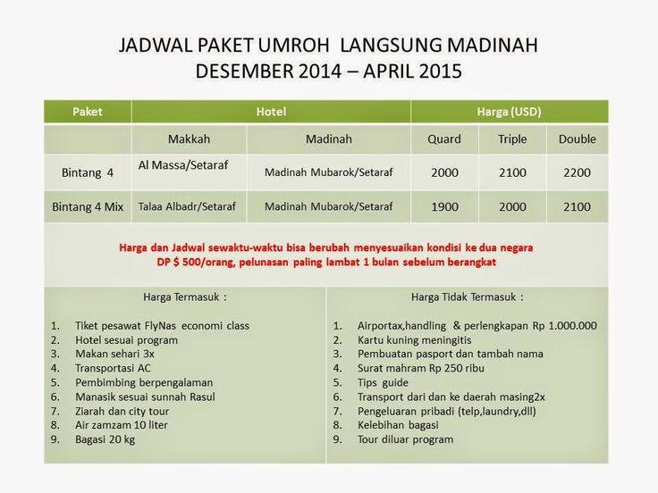 Gamalama Travel Umroh Jakarta: Umroh Akhir Tahun 2014 Promo. Ya kami berikan promo discount bagi anda yang mendaftar 4 orang. pesawat langsung madinah, hotel dekat masjidil haram, kunjungi kami http://www.gamalama-travel.com