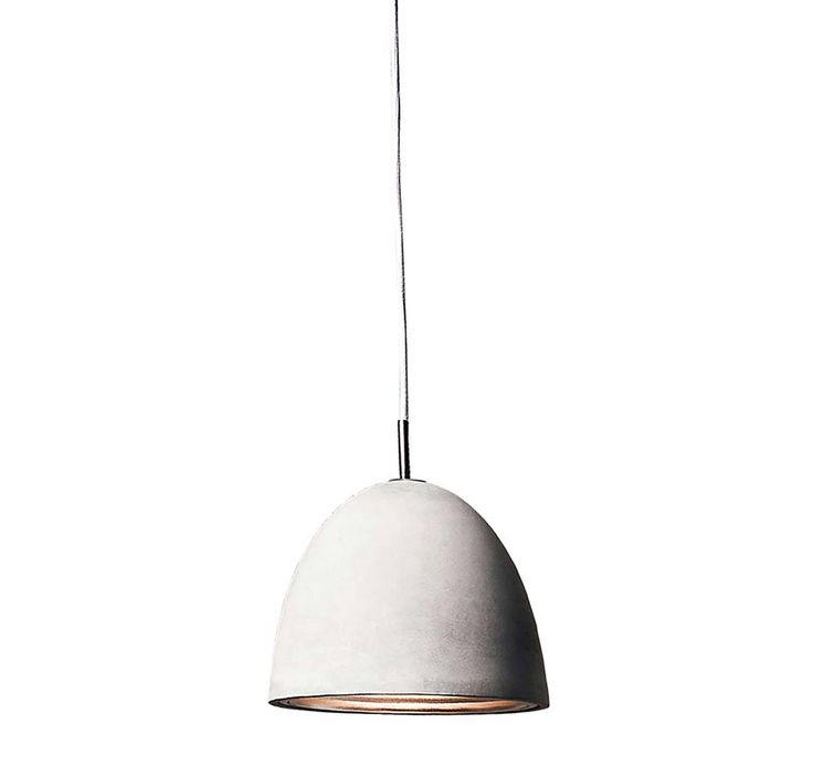 Dome shaped pendants made of concrete with interior corrugated aluminum reflectors. Large Castle pendant boasts a polished chrome reflector that folds open for easy lamp replacements. All Castle pendant cords are grey fabric. For indoor use.