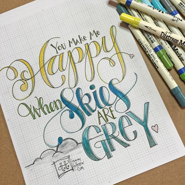 Lettering practice today with the #letteritapril prompt. When I color the word Happy it is almost always yellow. What is YOUR happy color? #lettering #handlettering #doodlelove #distressmarkers #letteritapril