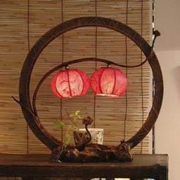 Country Table Lamp with Night Boat Two Paper Lanterns