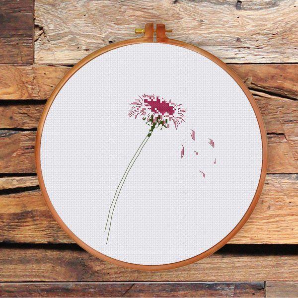 Unique Pink Daisy cross stitch pattern minimalist natural flower design