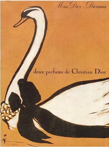 Ad by René Gruau, 1963, Miss Dior & Diorama, Deux parfums de Christian Dior (Perfumes).