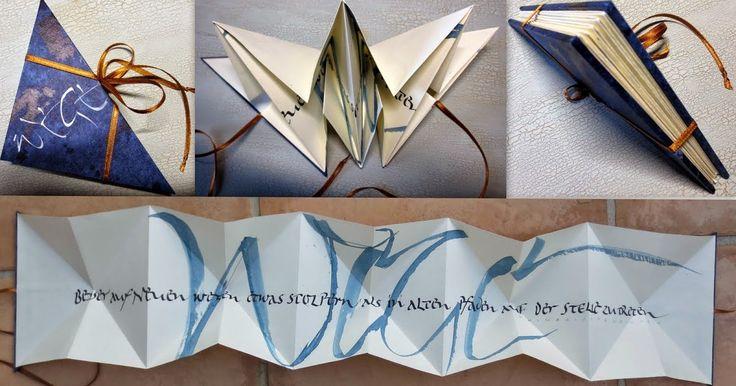 Hier endlich das angekündigte Leporello, unsere Abschlussarbeit im Kalligrafie-Kurs. Das Tutorial auf Wunsch von Ruth :-) - und für alle and...