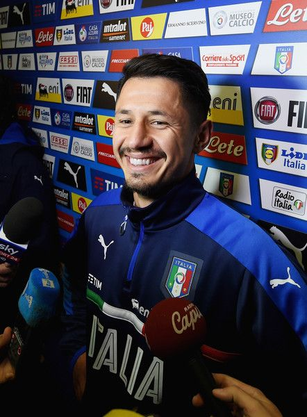 Gianluca Lapadula of Italy speaks to the media during a press conference at the club's training ground at Coverciano on November 9, 2016 in Florence, Italy.