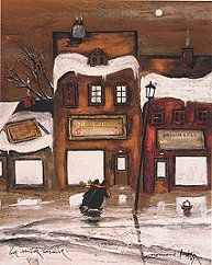 Original limited edition litograph by Normand Hudon New BOOK available November 9 2014 #hudon #art #caricaturist #village #nightscene #winterscene #mixedmedia #canadianartist #quebecartist #originalpainting #balcondart #multiartlee