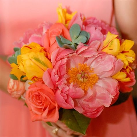 Coral and Yellow Bridesmaid Bouquets