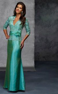 Stunning 3/4 Sleeve Mermaid Gown With Lace and Floral Band
