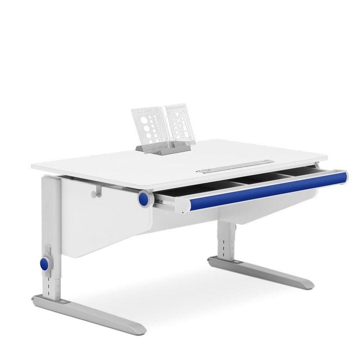 Der Schreibtisch Winner Classic in neuer Ausführung: inklusive großer Schublade mit Stifterinne und Schaumstoffeinlagen, inklusive Orga-Set (inkl. Spitzer und Kleberolle), neue graue Beifarbe nun RAL 7045, jetzt mit gerader Tischplattenkante vorne, Tischseiten in leicht abgeänderter Form.