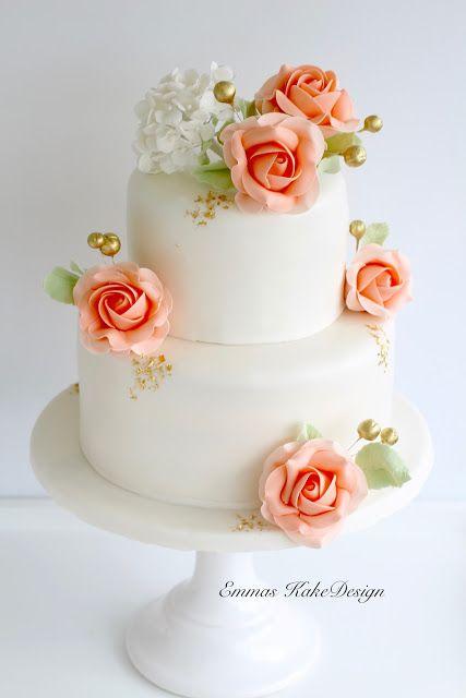Emmas KakeDesign: Peach and gold, roses and hydrangea, beauty and elegance! www.emmaskakedesign.blogspot.com