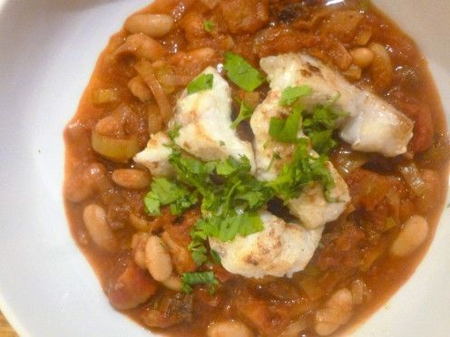 Pan Fried Monkfish on a Cannellini Bean, Tomato and Preserved Lemon Stew Recipe