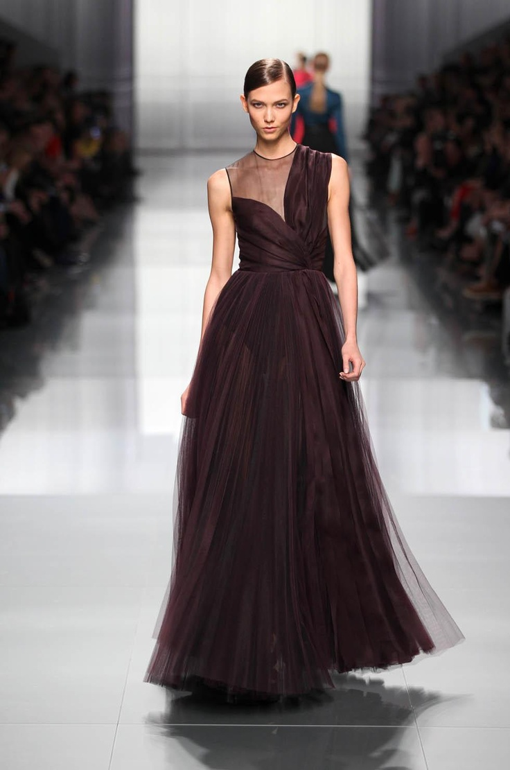 Dior Ready-to-Wear Fall Winter 2012 – Look 56: Aubergine silk dress. Discover more on www.dior.com