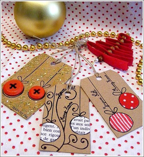 More sweet scrap paper and button Christmas tags