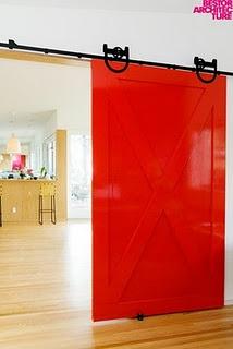 Super Red... Modern Farmhouse, Barn Doors from http://harvestfurniture.blogspot.com/2010/11/trend-alert-modern-farmhouse-barn-doors.html