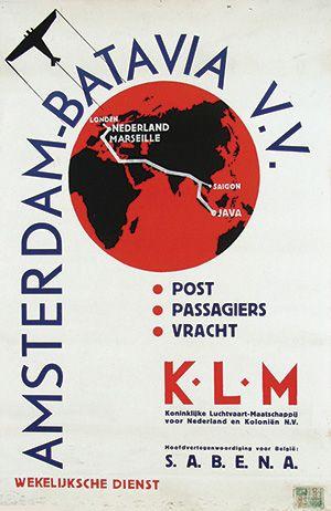 Vintage Travel Poster -  Amsterdam-Batavia - KLM - 1935.