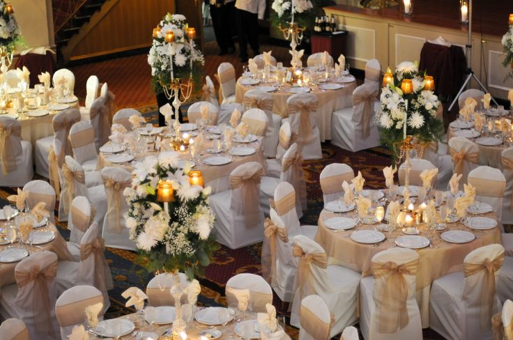 Chair Covers, chair cover rental, wedding decorations, Sitting Pretty  - Gold and silver wedding decorations