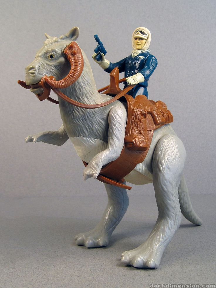 "Han Solo in Hoth Battle Gear, riding atop a Tauntaun action figure, from Kenner's ""Star Wars: The Empire Strikes Back"""