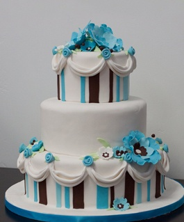 white, blue, black cake