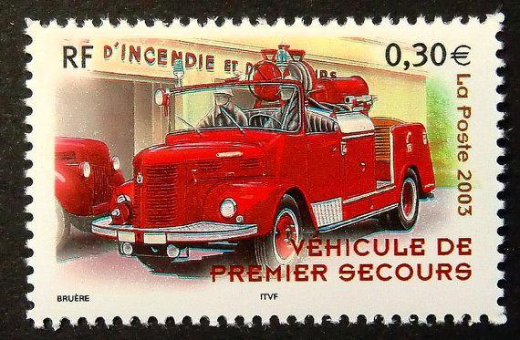 Fire Engine France -Handmade Framed Postage Stamp Art 14712