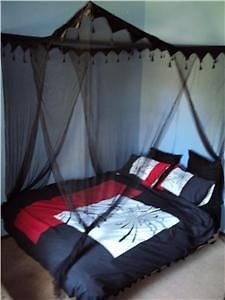 Black Tasselled 4 Poster Mosquito Net Bed Canopy - NEW! Double/Queen Size & Best 25+ 4 poster bed canopy ideas on Pinterest | Canopy bed ...