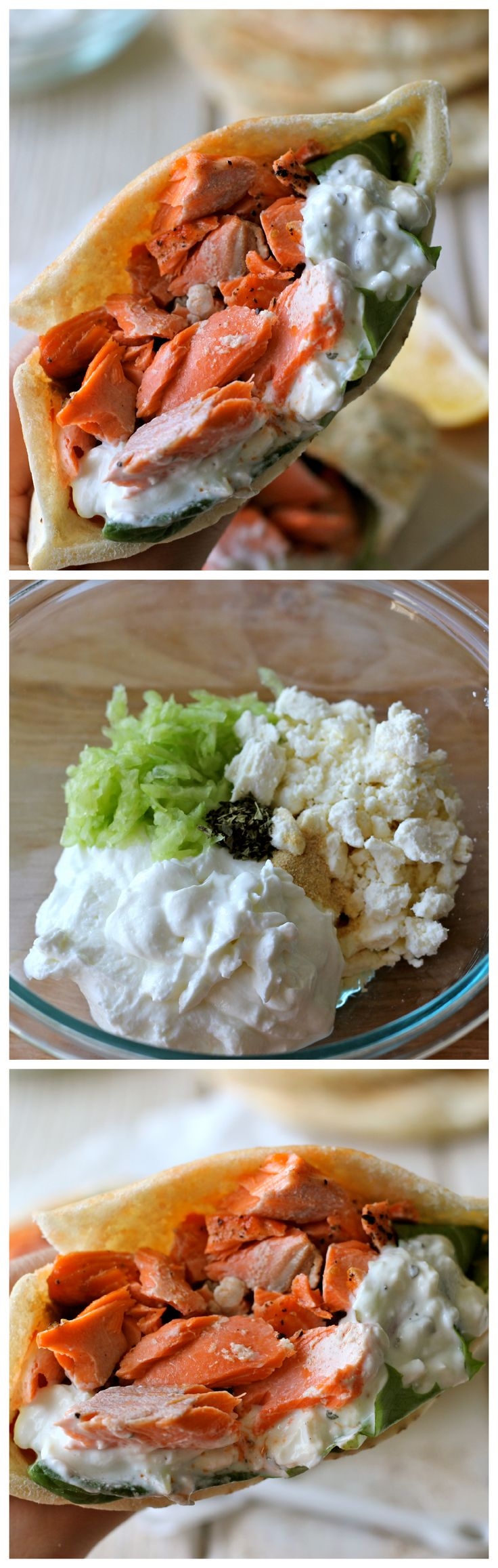 Broiled Salmon Gyros with Cucumber Feta Yogurt Dip - A hearty, healthy gyro with a homemade yogurt dip!