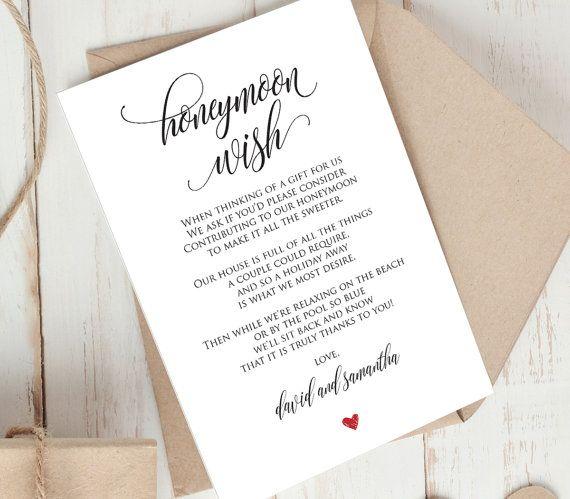 Honeymoon Wish Printable Card, Wedding Wishing Well Insert