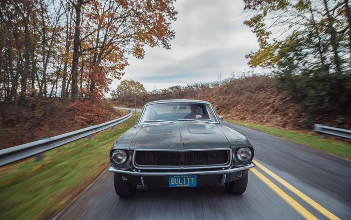 Download wallpapers 4k, Ford Mustang Bullitt, road, 1968 cars, muscle cars, retro cars, Mustang, Ford