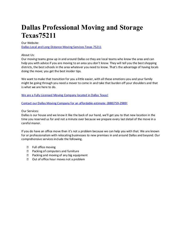 Moving Company Dallas by Movingcompanydallas via slideshare