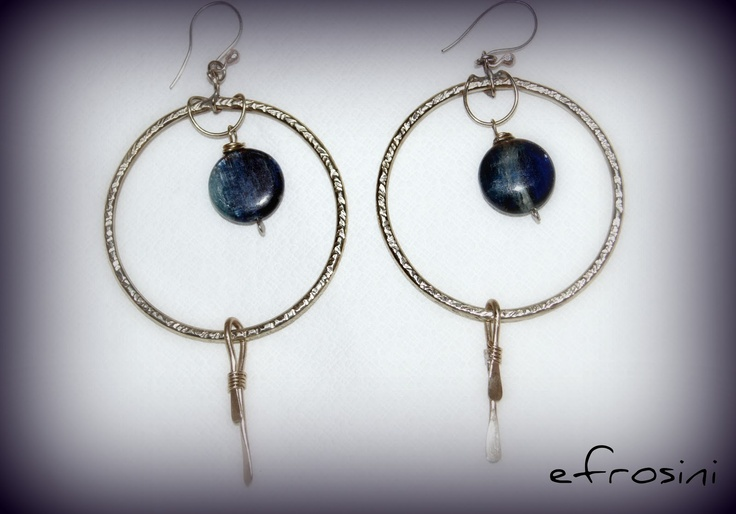 efrosini  earrings silver , cyanite