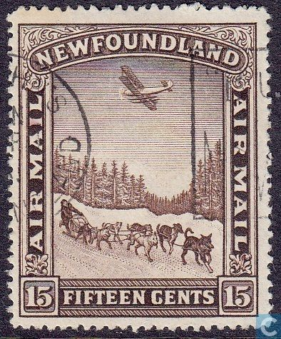 Stamps - Newfoundland - Airmail sled dogs 1931