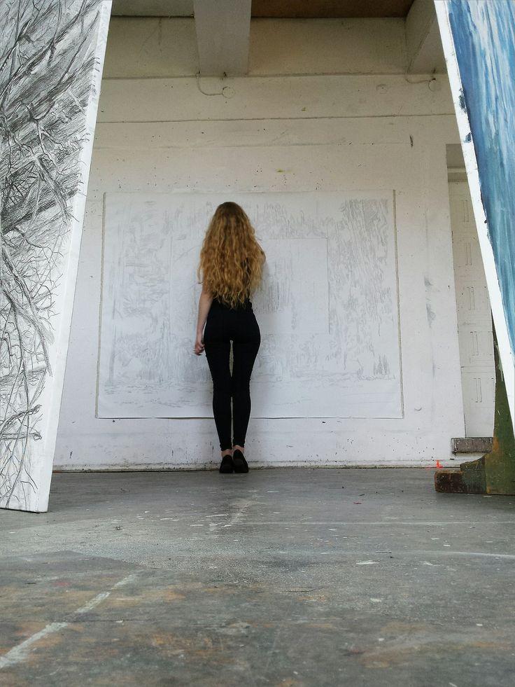 artist studio ♥ concrete winter wall painting