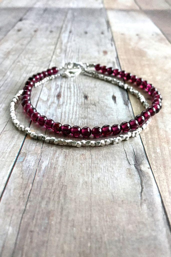 Genuine Garnet Bracelet, Sterling Silver Clasp, Red Semi Precious Stone Jewelry