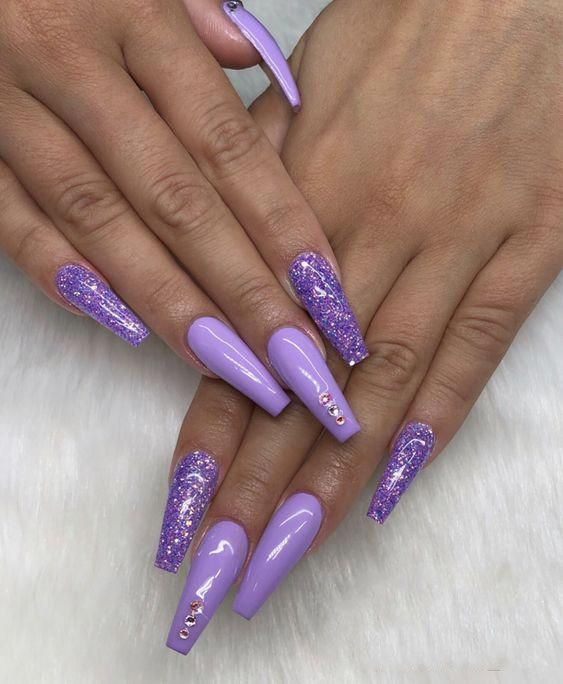 sparkling pointed matte acrylic long glitter jewels