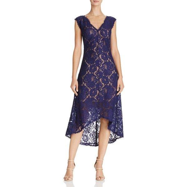 Tadashi Shoji V-Neck Lace Dress ($390) ❤ liked on Polyvore featuring dresses, midi dress, tadashi shoji cocktail dresses, blue v neck dress, tadashi shoji dresses and blue cocktail dress