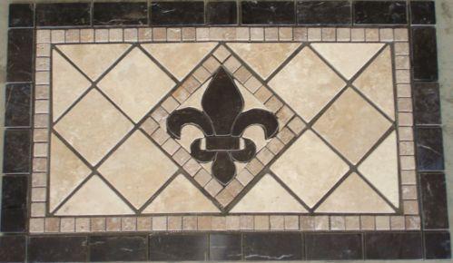 18x30 Stcroix Brown Fleur De Lis Mosaic Marble Medallion