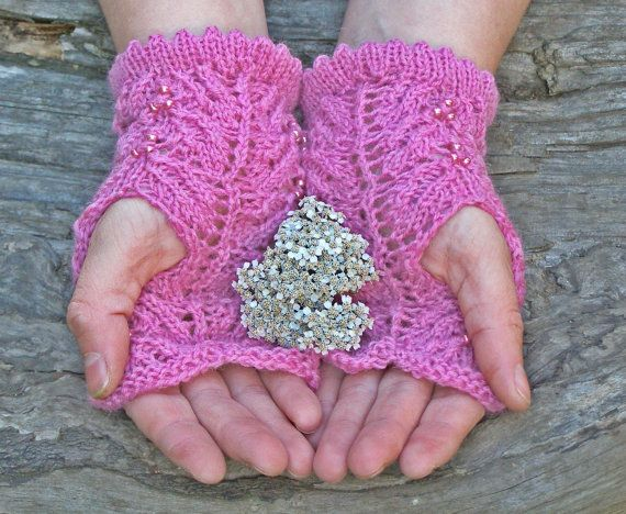 Fingerless gloves ~ Pink knit wrist warmers ~ Unique gift for girl friend, you are my sunshine