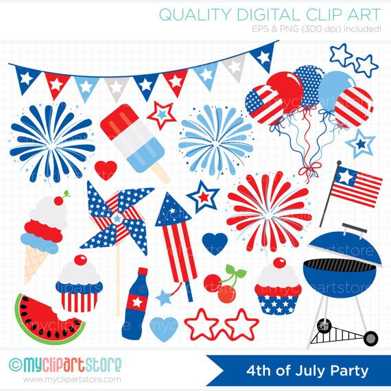 Clipart - 4th of July Party / Independence Day Clipart - BBQ / Fireworks / Balloons - Digital Clip Art (Instant Download)