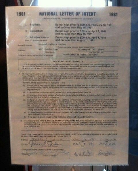 Michael Jordan's national letter of intent.