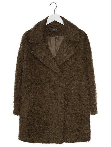 Topshop Płaszcz wełniany /Płaszcz klasyczny oliwkowy