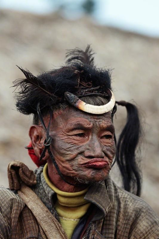 The Konyak are a Naga people, and are recognised among other Naga by their tattoos, which they have all over their face and hands. They are called the land of Angh's. They have the largest population among the Nagas.